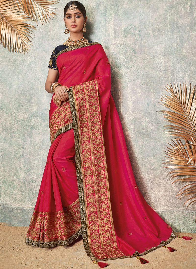 9dd0c4f8fb Hot Pink Wedding Fancy Fabric Saree buy online -
