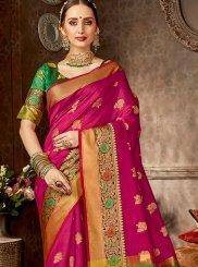 Hot Pink Woven Festival Designer Saree