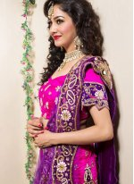 Hot Pink Zari Wedding Trendy Lehenga Choli