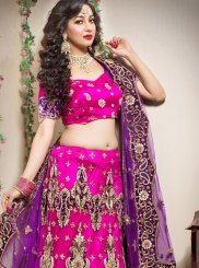 Hot Pink Zari Wedding Trendy Lehenga Choli