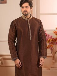 Indo Western Embroidered Art Banarasi Silk in Brown