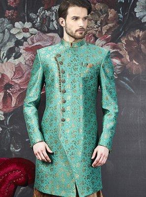 Indo Western Embroidered Art Banarasi Silk in Grey