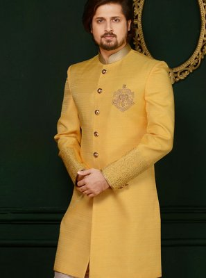 Indo Western Embroidered Art Silk in Yellow