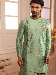 Indo Western Embroidered Jacquard in Green