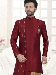 Indo Western Embroidered Jacquard Silk in Black