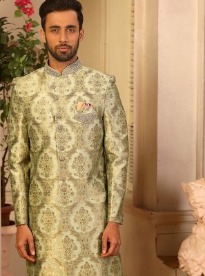 Indo Western Embroidered Jacquard Silk in Green