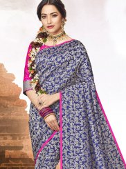 Jacquard Abstract Print Blue Classic Saree