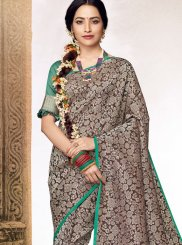 Jacquard Abstract Print Designer Saree in Grey