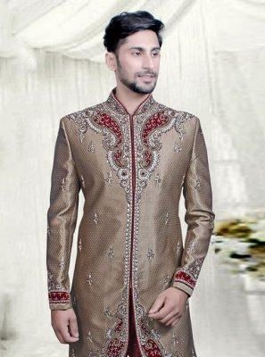 Jacquard Beige Embroidered Sherwani
