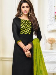 Jacquard Black Embroidered Salwar Kameez