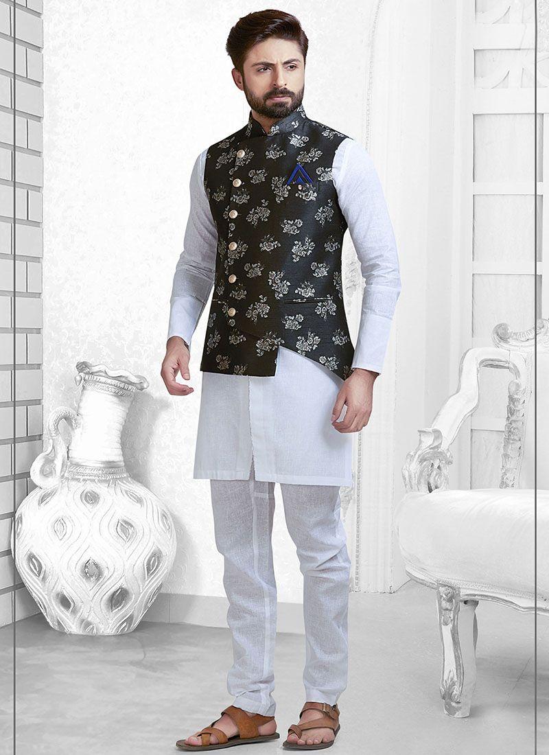 Jacquard Black Nehru Jackets