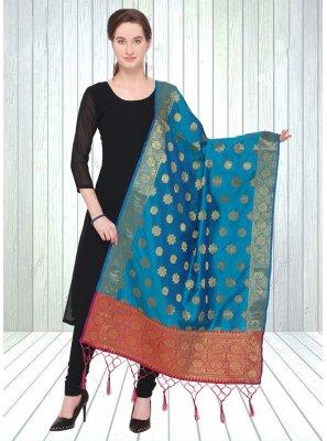 Jacquard Blue Designer Dupatta