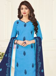 Jacquard Churidar Suit in Blue
