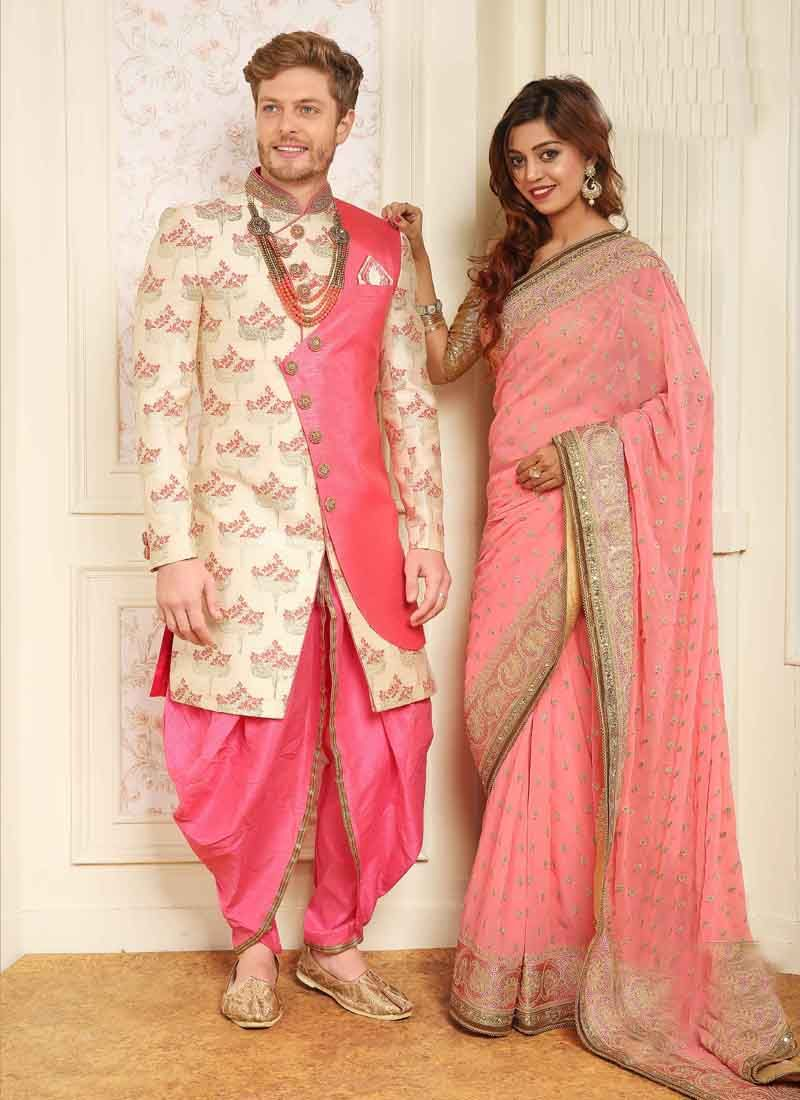 8889cca1f Buy Jacquard Cream and Pink Printed Indo Western Sherwani Online : 111085 -