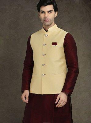 Jacquard Cream Nehru Jackets