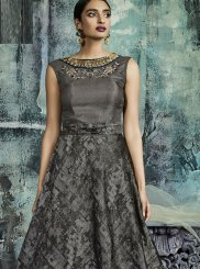 Jacquard Designer Gown in Grey