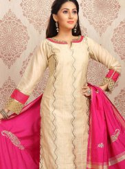 Jacquard Embroidered Churidar Designer Suit