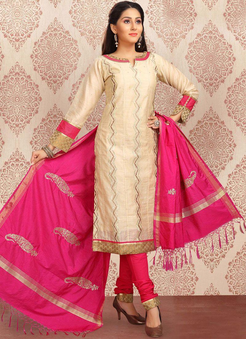 Jacquard Embroidered Churidar Designer Suit