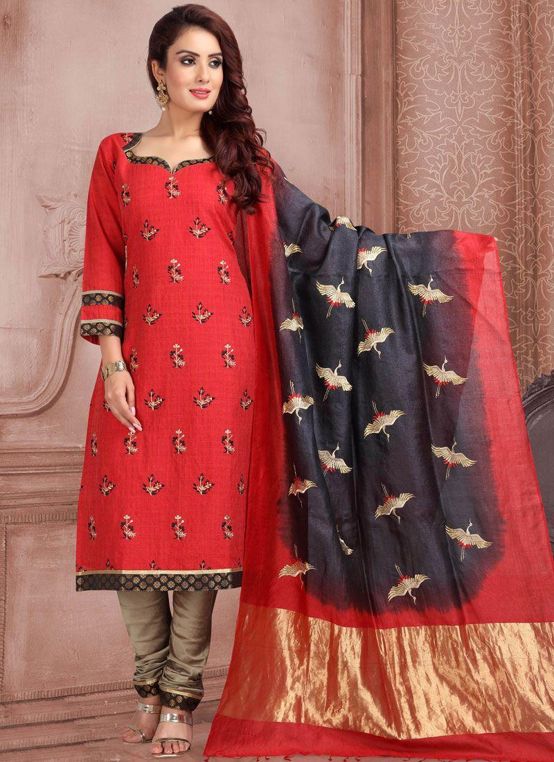 Jacquard Embroidered Churidar Salwar Kameez