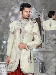 Jacquard Embroidered Indo Western in Gold