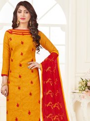 Jacquard Embroidered Mustard Churidar Suit