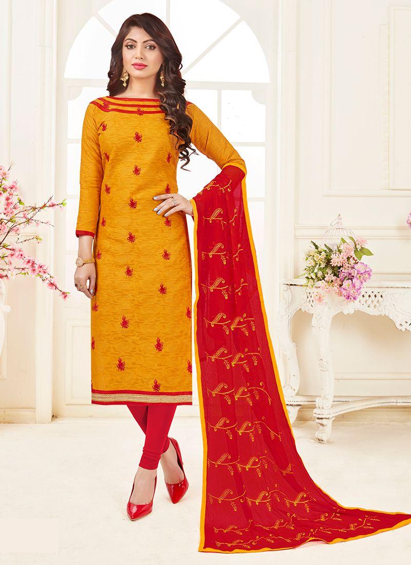 Jacquard Embroidered Mustard Churidar Suit
