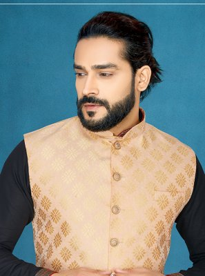 Jacquard Embroidered Nehru Jackets in Peach