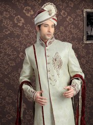 Jacquard Embroidered Off White Sherwani