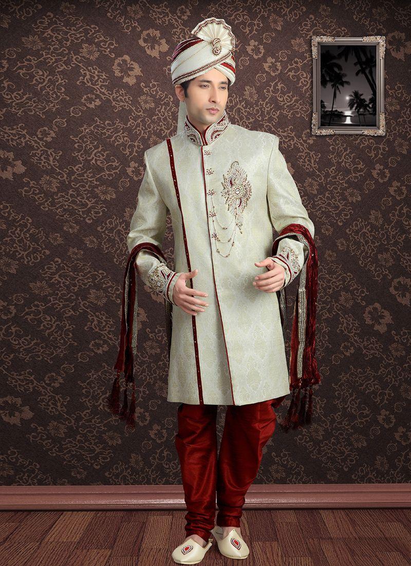 Jacquard Embroidered Off White Sherwani