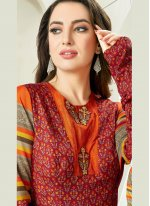 Jacquard Embroidered Readymade Gown in Maroon