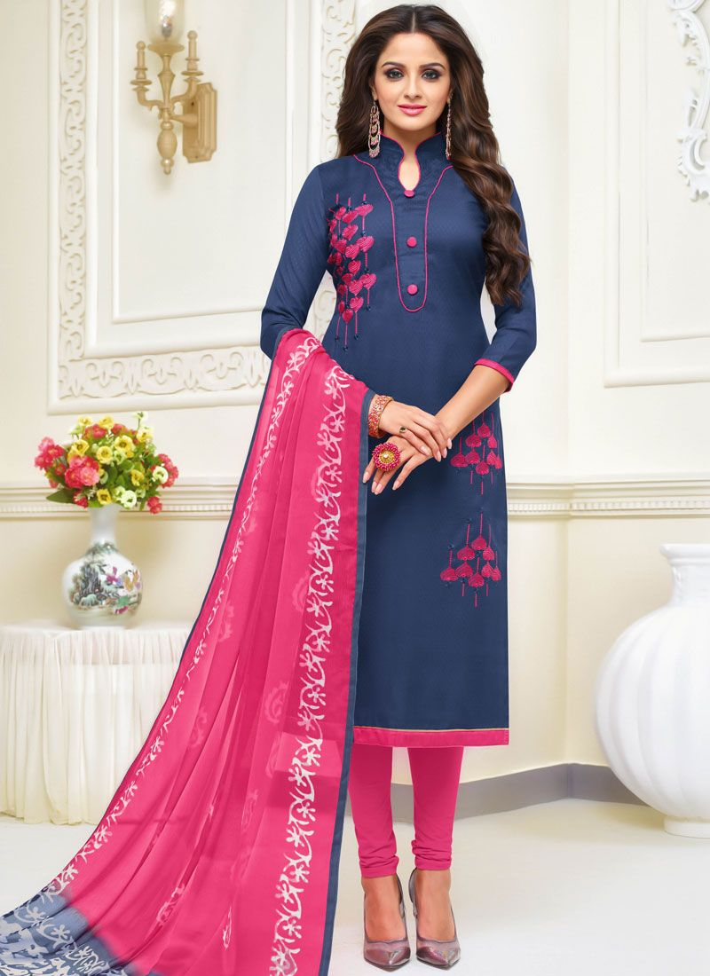 Jacquard Embroidered Salwar Kameez in Navy Blue