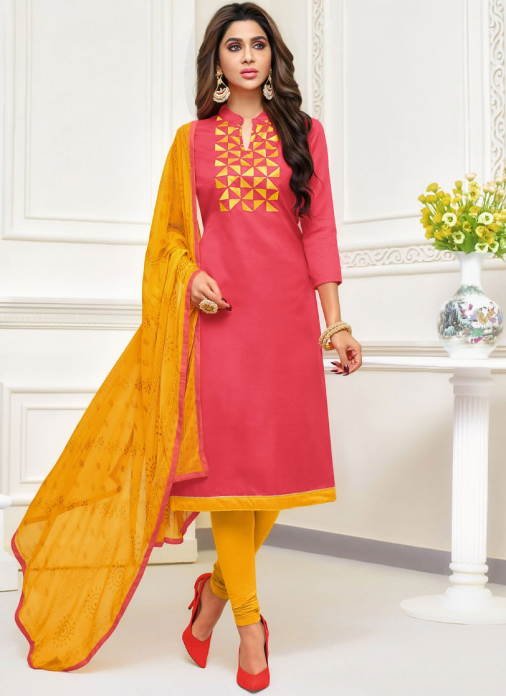 Jacquard Embroidered Salwar Kameez in Peach