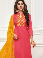 Jacquard Embroidered Salwar Kameez in Peach