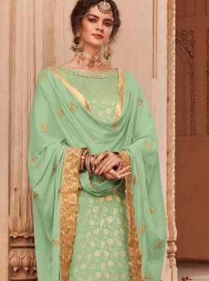 Jacquard Embroidered Sea Green Trendy Palazzo Salwar Suit