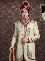 Jacquard Embroidered Sherwani in Cream