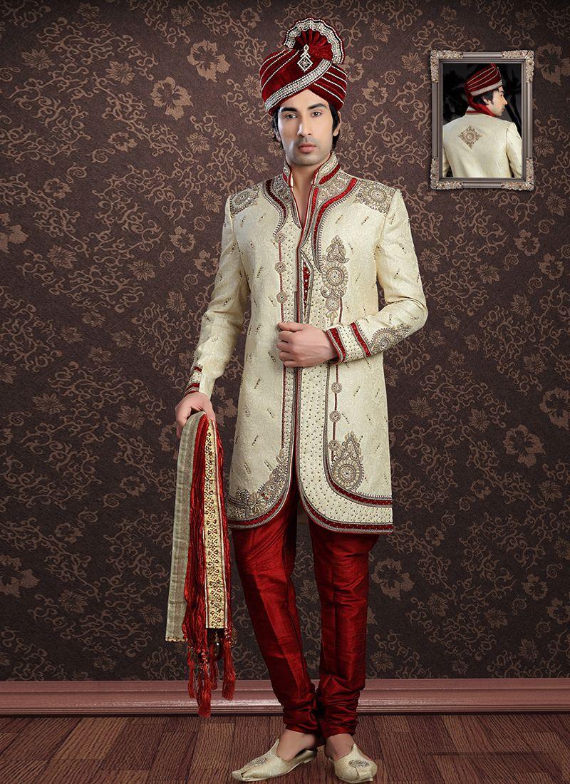 Jacquard Embroidered Sherwani in Cream