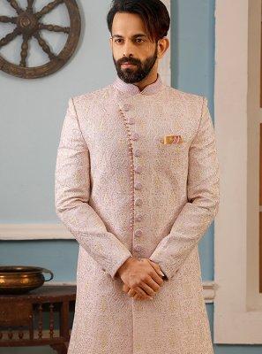 Jacquard Embroidered Sherwani in Pink