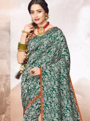 Jacquard Green Abstract Print Designer Saree