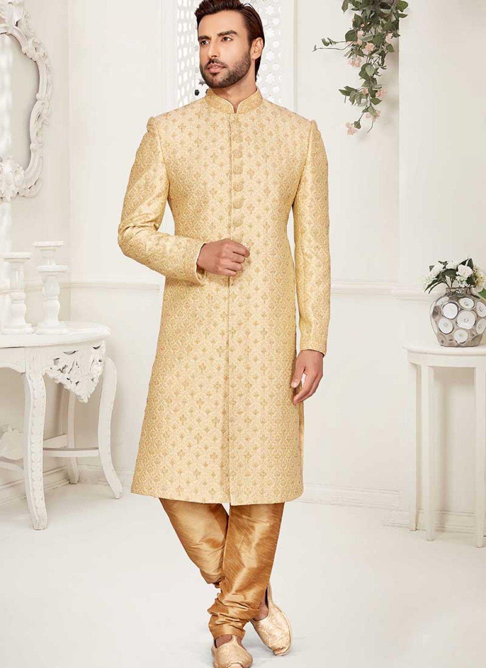 Jacquard Handwork Sherwani in Gold