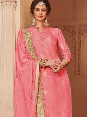 Jacquard Hot Pink Embroidered Trendy Palazzo Salwar Kameez