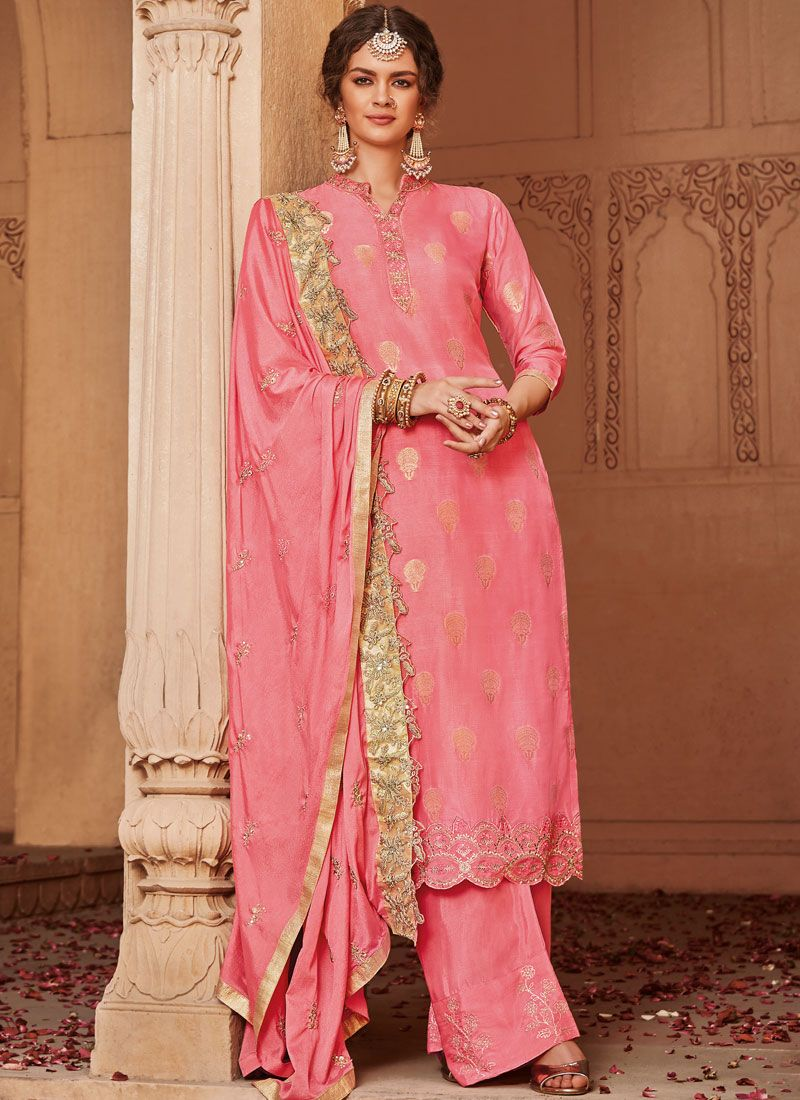 Jacquard Hot Pink Embroidered Trendy Palazzo Salwar Kameez
