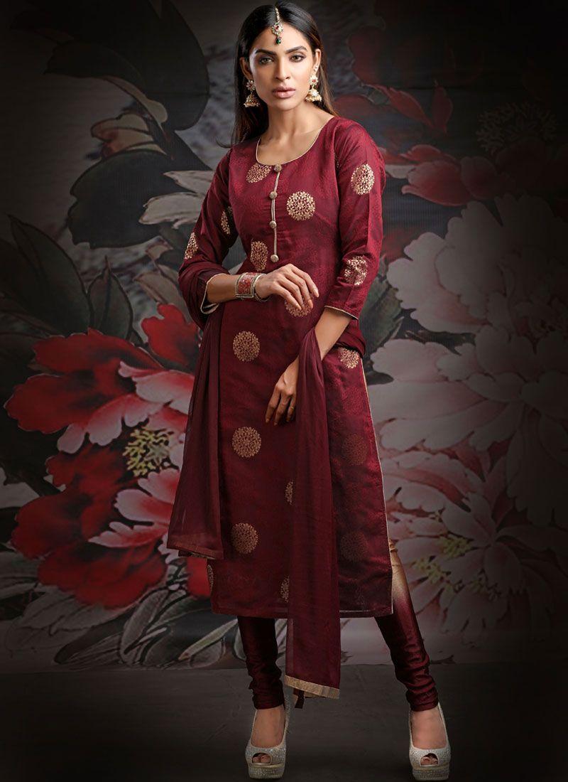Jacquard Maroon Designer Salwar Kameez