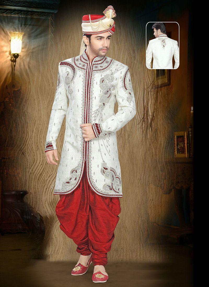 Jacquard Moti Indo Western in Off White