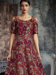 Jacquard Multi Colour Print Trendy Gown