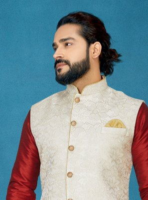 Jacquard Off White Embroidered Nehru Jackets