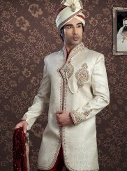 Jacquard Off White Embroidered Sherwani