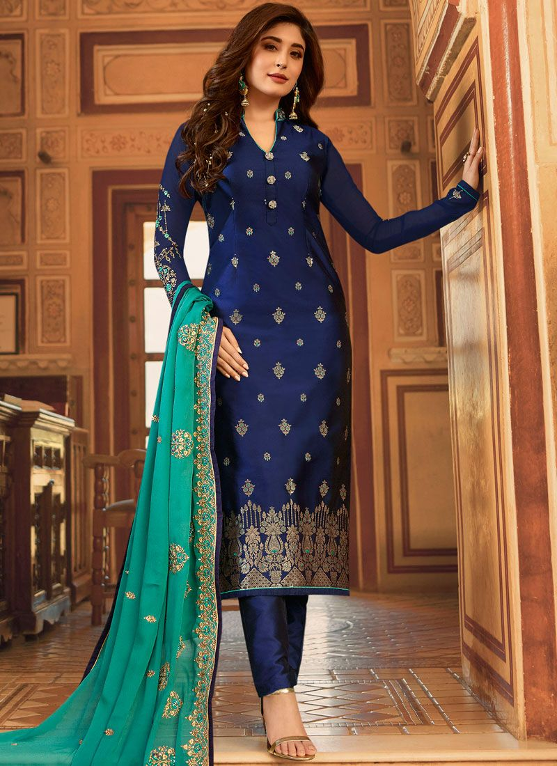 Jacquard Pant Style Suit in Blue