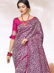 Jacquard Purple Abstract Print Classic Designer Saree