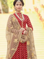 Jacquard Red Floor Length Anarkali Suit