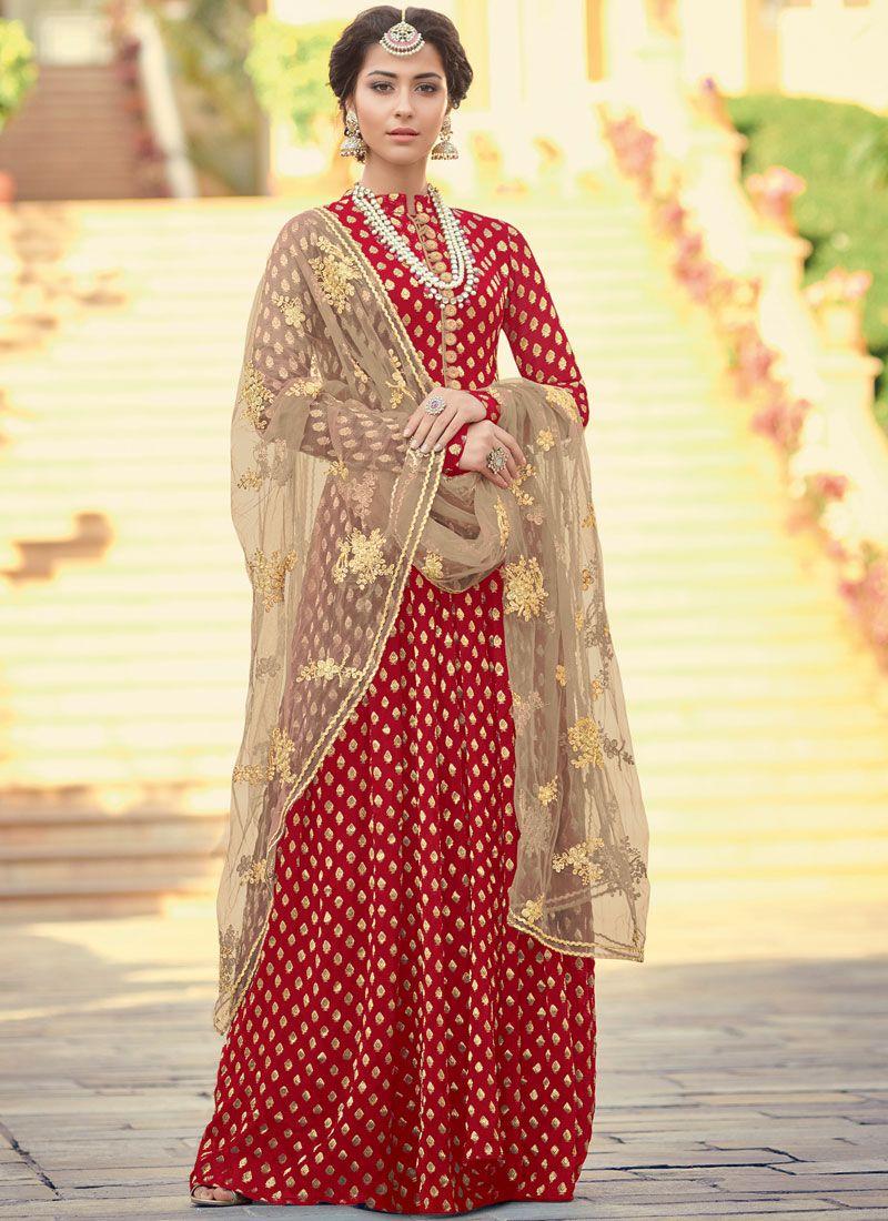 Jacquard Red Floor Length Anarkali Suit